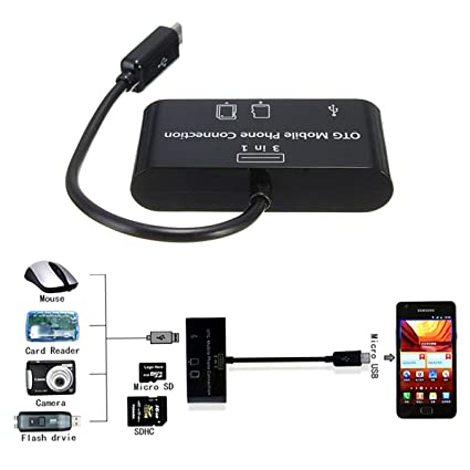 Card Reader Camera Viewer USB Hub 3 in 1 Smart OTG Mobile Phone Connection, Reads