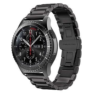 iBazal 22mm Correa Metal Acero Pulseras Bandas Compatible con Samsung Galaxy Watch 46mm,Gear S3 Frontier Classic,Huawei GT/2 Classic/Honor ...