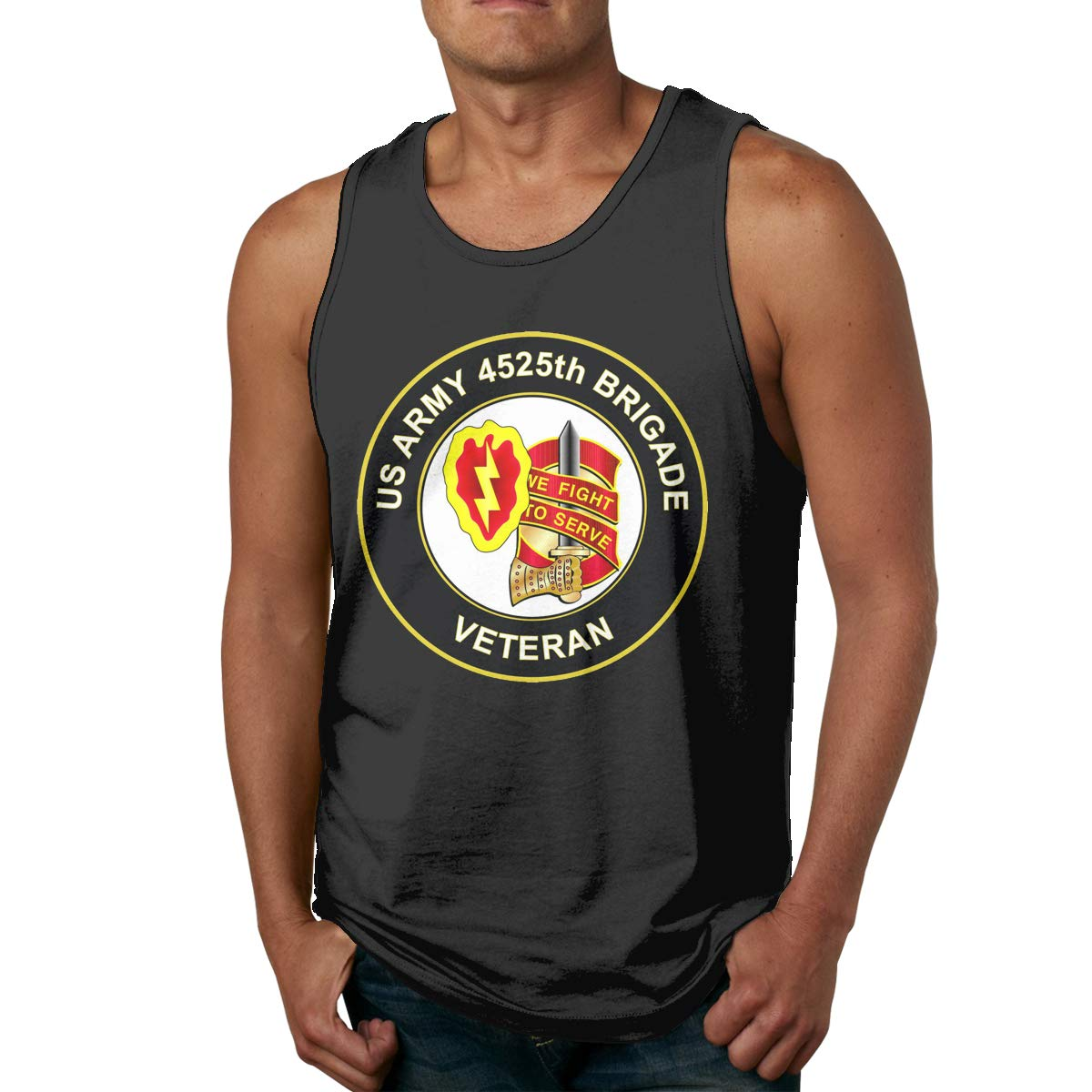 U.S Army 4525th Brigade Unit Crest Veteran Mens Cotton Undershirts Crew Neck Tank Tops