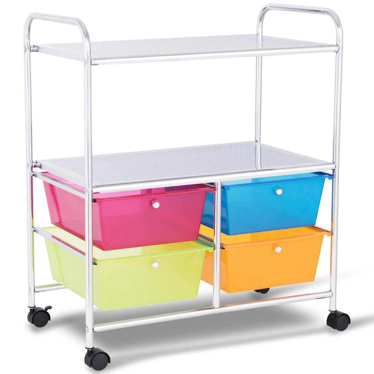 Giantex Rolling Storage Cart w/ 4 Drawers 2 Shelves Metal Rack Shelf Home Office School Beauty Salon Utility Organizer Cart with Wheels (Blue Green Orange & Red) by Giantex (Image #1)
