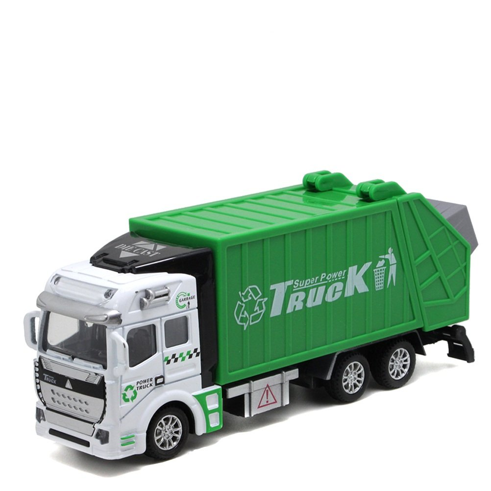 Odowalker Garbage Truck Toy Vehicle Green Pull back Realistic Truck Model Die Cast Metal and Plastic Lorry with Openable Back Door Recycling Truck Toy