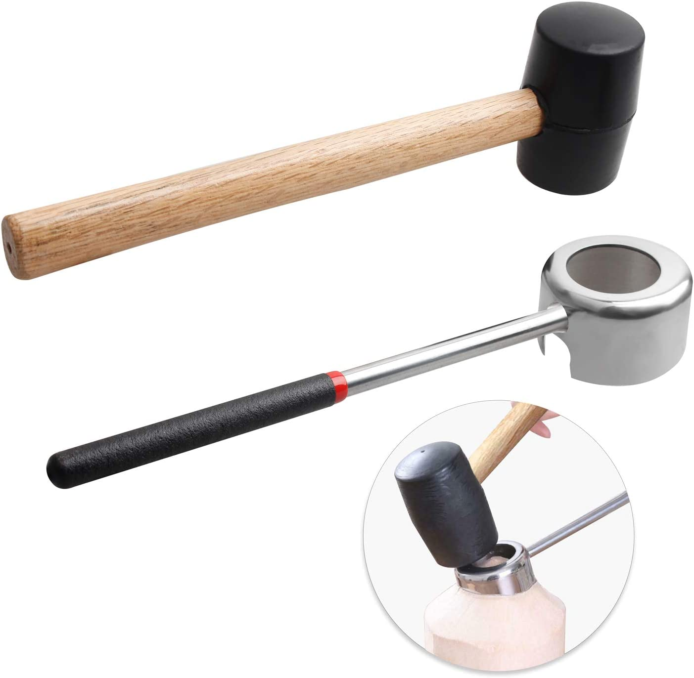 YiePhiot Coconut Opener Tools with Hammer, Super Safe & Easy to Open Young Coconuts Tool, Food Grade Stainless Steel Coconut Opener Set, Rubber Mallet with Handle