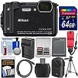 Nikon Coolpix W300 4K Wi-Fi Shock & Waterproof Digital Camera (Black) with 64GB Card + Case + Battery & Charger + Tripod + Float Strap + Kit