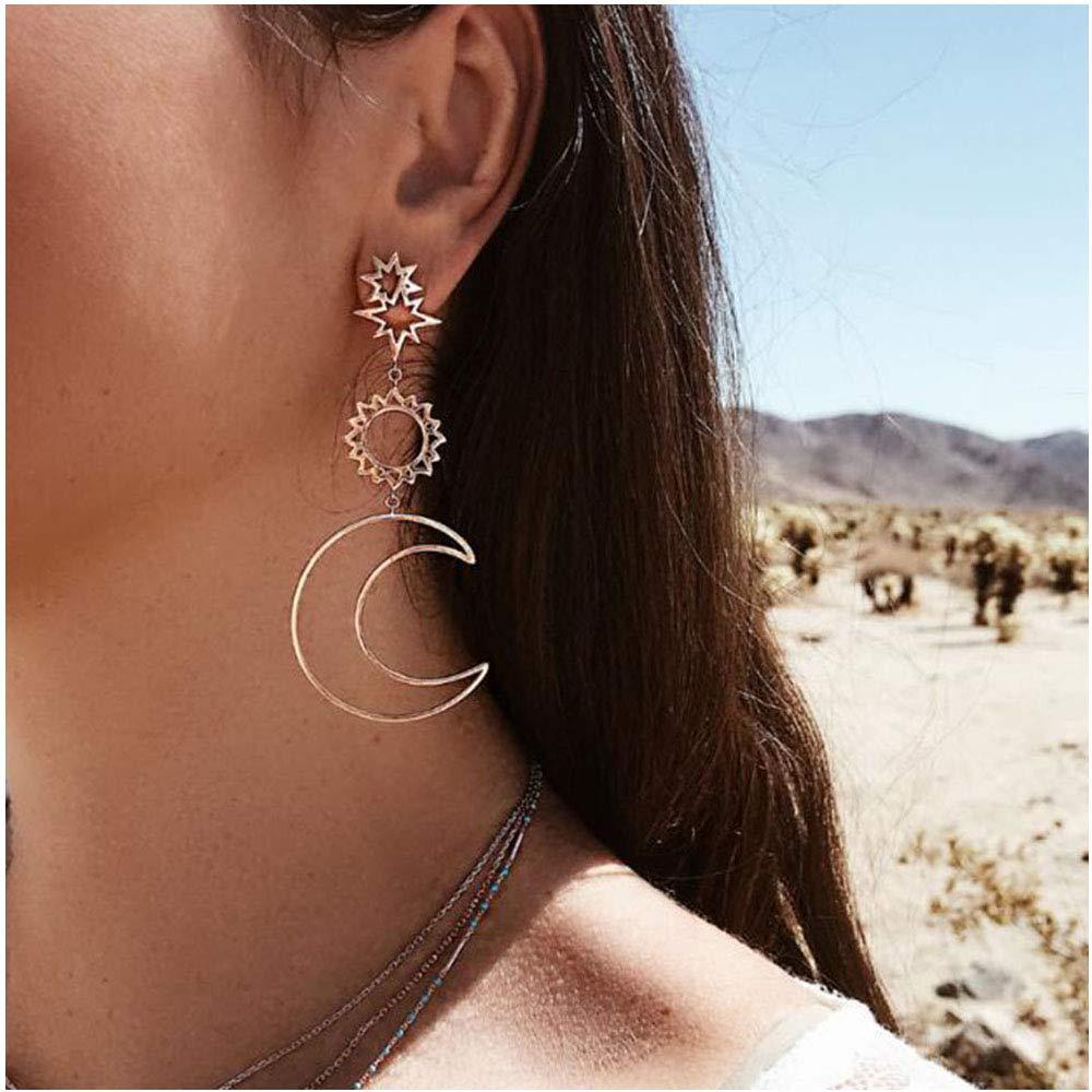 Women Fashion Boho Asymmetrical Hollow Star Sun Moon Drop Dangle Earring Jewelry MINGHUA