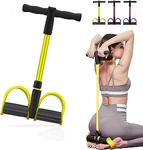Camfosy Pedal-weerstandsband, buiktrainer, sit-up trainingsapparatuur bodybuilding expander fitness-trekkoord thuis, 4 tubes multifunctionele leg-exerciser voor fitness afvallen training yoga