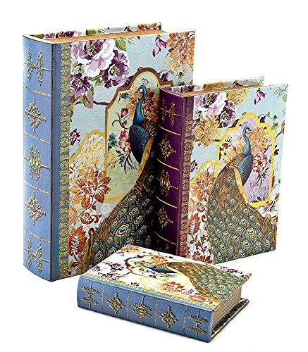 Faux Book Box Set (Designed Wood Leather Book Box (Peacock Sky Blue))