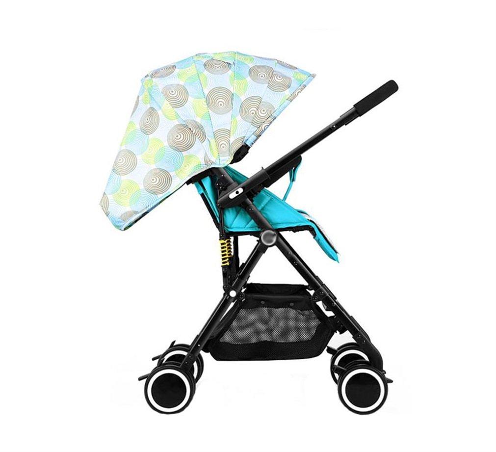 XnZLXS-Cochecitos Paisaje Alto Bidireccional Baby Trolley Ultralight Fold Paraguas Carro para niños Carro de Cuatro Ruedas Marco de aleación de Aluminio (Verde)