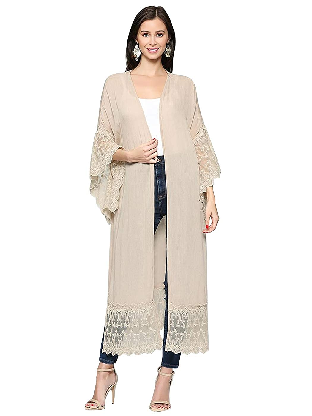 9f2919ba44e8a Anna-Kaci Long Open Front Maxi Scallop Lace Boho Beach Coverup Kimono  Cardigan at Amazon Women's Clothing store:
