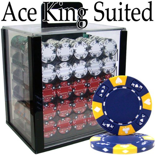 Brybelly Holdings PCS-2806A Pre-Pack - 1000 Ct Ace King Suited Chip Set Acrylic Case