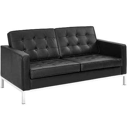 Modway Loft Upholstered Genuine Leather Mid-Century Modern Loveseat In Black