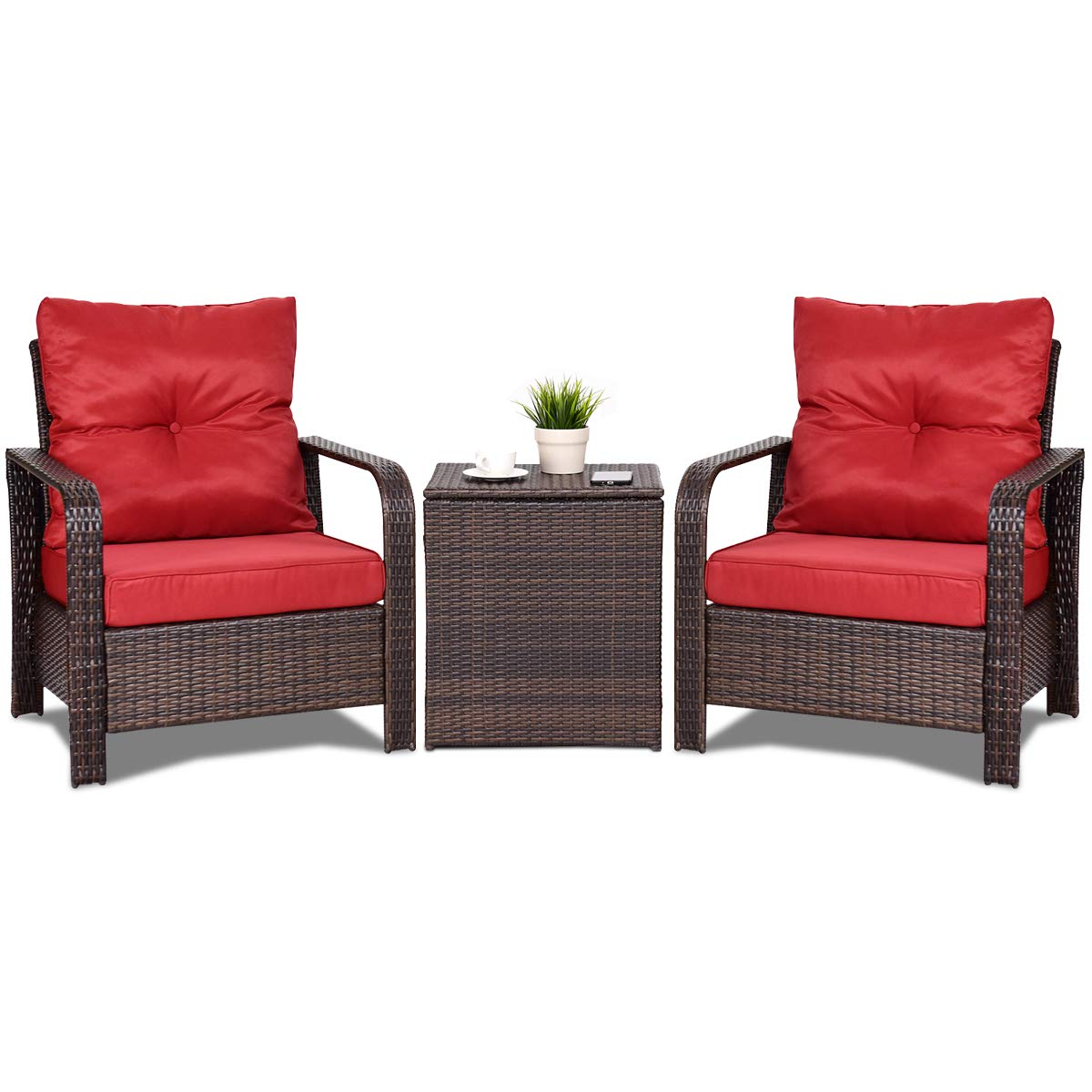 Tangkula conversation set outdoor patio 3 piece all weather proof sturdy wicker chairs coffee table set rattan furniture sofa set with thick cushions
