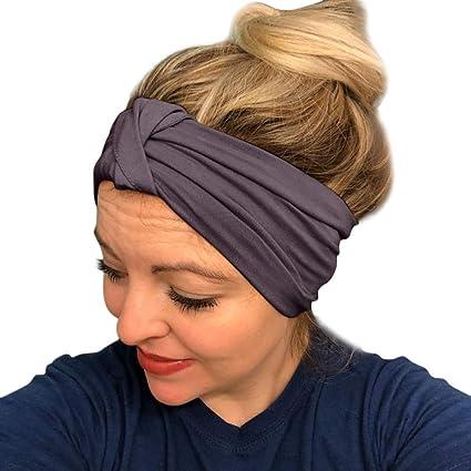 SUKEQ Women Elastic Turban Head Wrap Headband Twisted Hair Band Workout  Sweatbands Accessories for Running Yoga d95b917e84