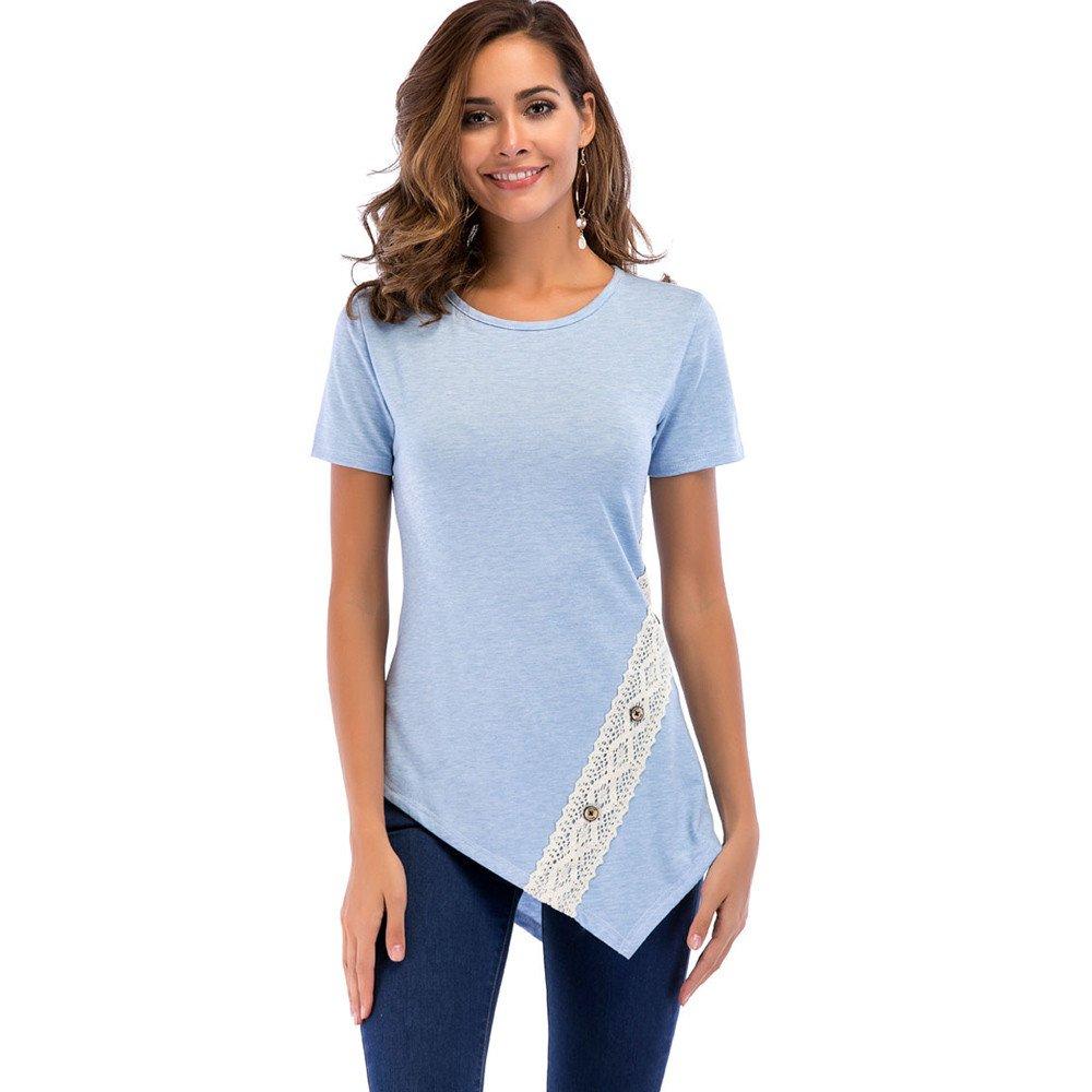 Sunmoot Clearance Sale Button Blouse for Women Lace Patchwork Irregular Hem Short Sleeve Summer Casual Slim Fit Turtleneck T-Shirt Tunic Sleeveless Tank Top