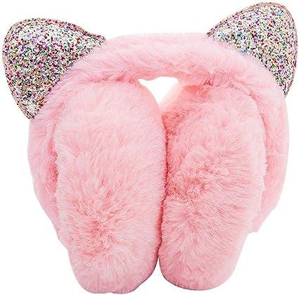 Sequin Design Warm Cat Ear Earwarmer Winter windproof snow earmuffs Girl Soft Plush Bunny Ear Foldable Winter Ear Warmers Earmuff Ears Pad