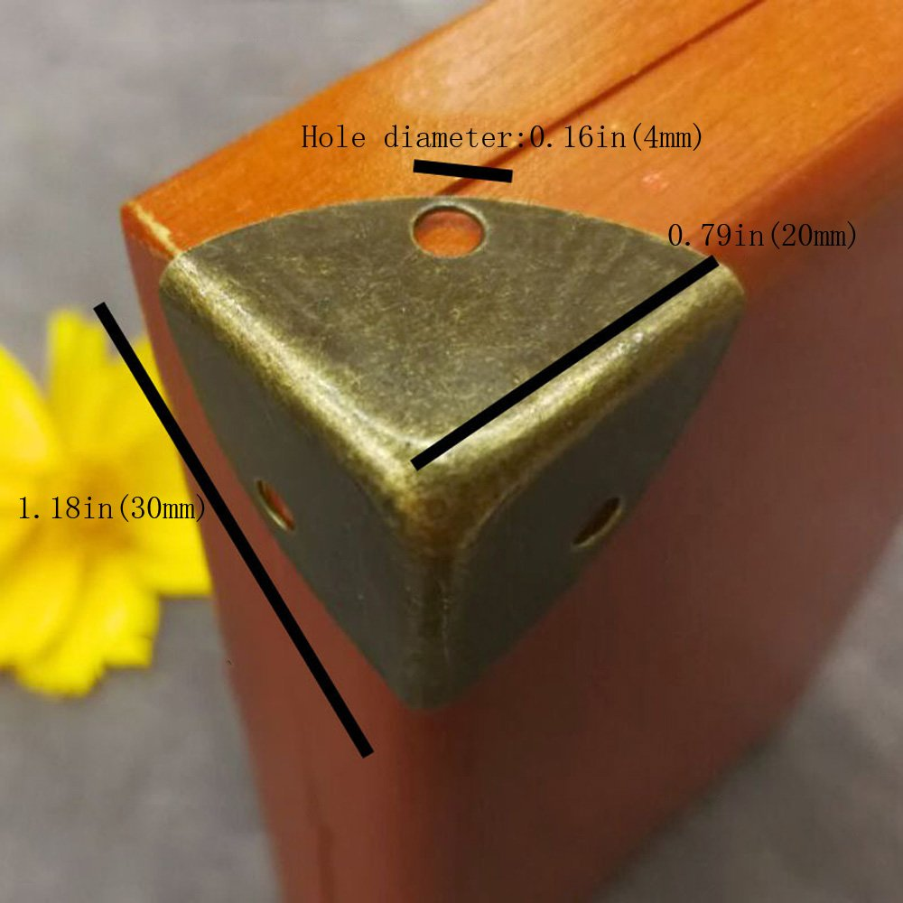 RZDEAL 8PCS Box Corner Protector Zinc Alloy Triangle Antique Hardware Desk Edge Guards Wood Jewelry Case Accessories DIY RZ-00438