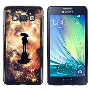 KLONGSHOP // Cubierta de piel con cierre a presión Shell trasero duro de goma Protección Caso - Reflexión Galaxy - Samsung Galaxy A3 //