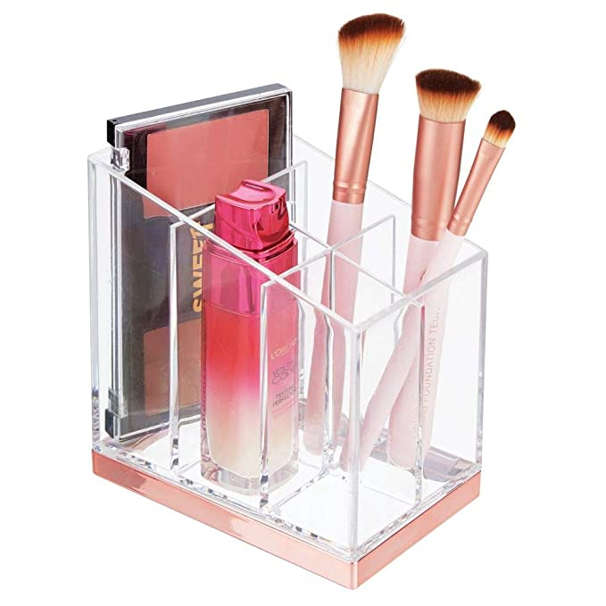 d25f775be mDesign Práctico organizador de maquillaje – Decorativa caja para guardar  cosméticos como esmaltes de uñas o