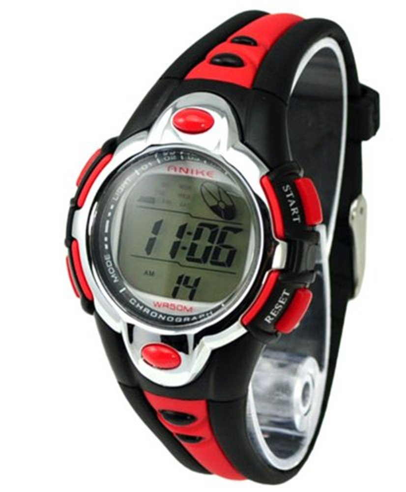 Vavna Flash Lights 50m Waterproof Chronograph Digital Boys Girls Sports Watch Alarm (red)