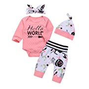 OUTGLE Newborn Baby Girl Pink Polka Dot Romper + Trouser + Hat + Headband Clothing Set Winter Outfits