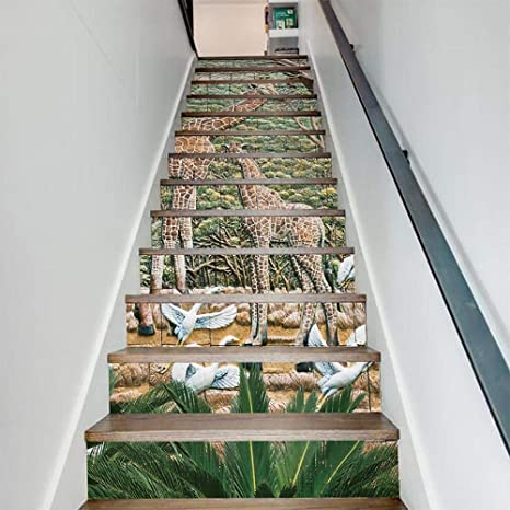MTX Ltd Estilo Occidental Creativo decoración de la Pared 3D Vinilo Adhesivo Autoadhesivas Escaleras - para la Escalera Extraíble Decoración Nursery Jirafa Azulejos de cerámica Patrón Papel calcomaní: Amazon.es: Deportes y aire