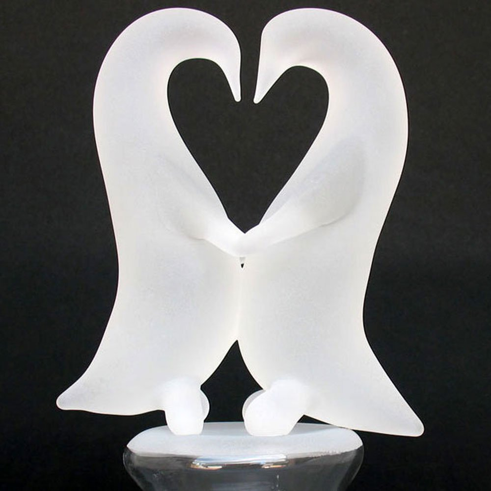 Amazon.com: Blown Glass Penguins Dancing Wedding Cake Topper ...