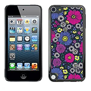 [Neutron-Star] Snap-on Series Teléfono Carcasa Funda Case Caso para Apple iPod Touch 5 [Diseño floral rosado del papel pintado de la vendimia]