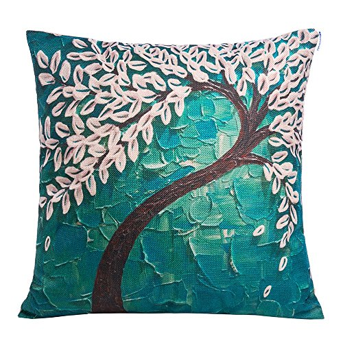 - Anickal 18 x 18 Square Teal Oil Painting White Flower Black Tree Print Pattern Throw Pillow Cover Decorative Pillow Case