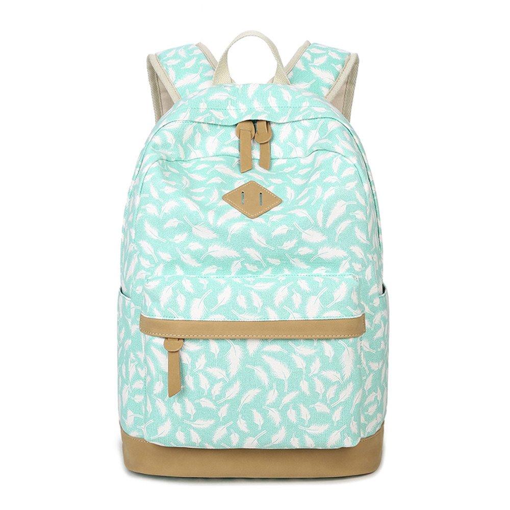 Moda Linda pluma impreso lona ocasional portátil bolsa escuela mochila ligera mochilas