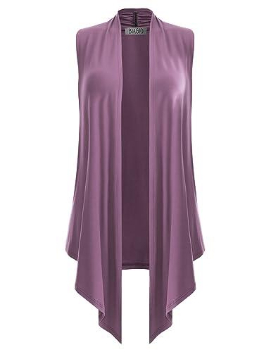 Biadani Women Versatile Soft Sleeveless Open Front Drape Cardigan by Biadani