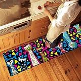 Edge To Carpet Rug Carpet Living Room Coffee Table Sex Cat Kitchen Bedroom Bedside Piaoyan Window Striped Non-slip Sugar Carpet ( Color : 50150cm )