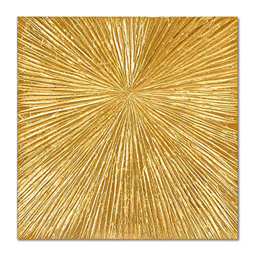 Gold Foil Texture - UAC WALL ARTS Metallic Bead Light Gold Foil 3D Abstract Texture Oil Painting on Canvas Abstract Art Pictures Canvas Wall Art Paintings Modern Home Decor Abstract Paintings Ready to Hang 32x32Inch