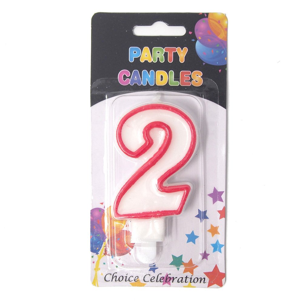Amazon Homeford Number 2 Birthday Candle White Red 1 Inch Home Kitchen