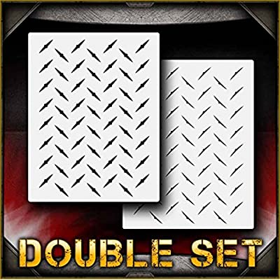 Diamond Plate Full Page 1 AirSick Airbrush Stencil Template: Toys & Games