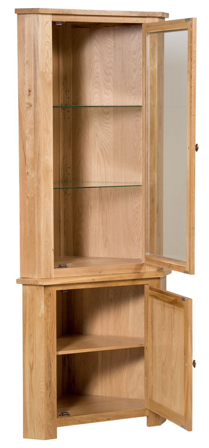 new solid oak corner display unit cupboard dresser cabinet with