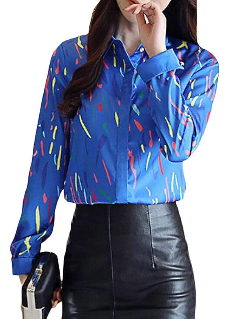 YYG Mens Checkered Lapel Slim Casual Long Sleeve Button Up Dress Shirt