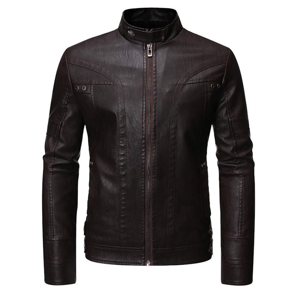 Sagton Stand up Collar Leather Coat Vintage Pu Leather Winter Coat Coffee M by Sagton-Men Coat
