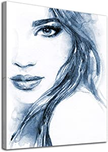 """Beauty Wall Art Abstract Canvas Pictures Blue Fashion Woman Watercolor Lady Modern Artwork Contemporary Art Prints Framed for Home Office Kitchen Bathroom Bedroom Nursery Living Room Decor 12"""" x 16"""""""