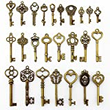 LolliBeads (TM) 2 Sets of Assorted Pewter Antiqued Brass Bronze Charms Pendants Victorian Filigree Heart Royal Key (50 Pcs)