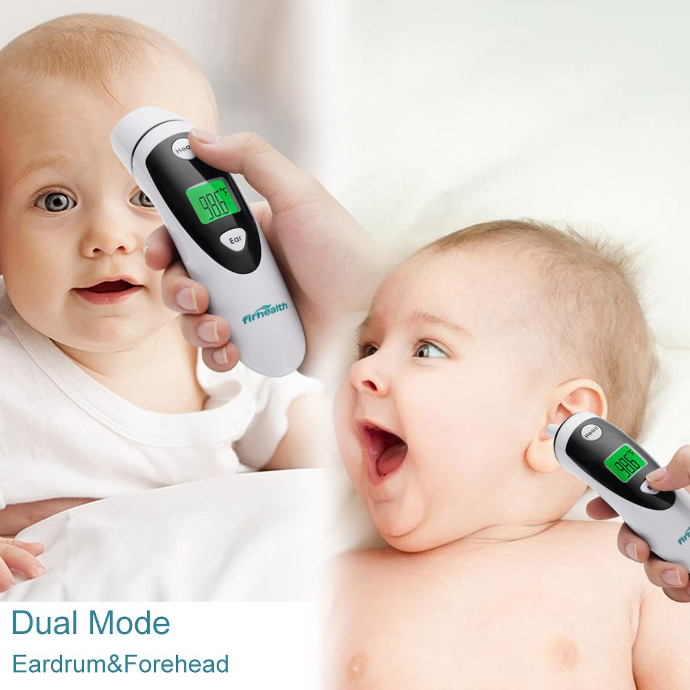 Firhealth Forehead and Ear Thermometer, Infrared Digital Fever Thermometer for Baby, Adult and Elderly Professional Precision And Medical Accuracy Fever Alarm, CE and FDA Approved, Black