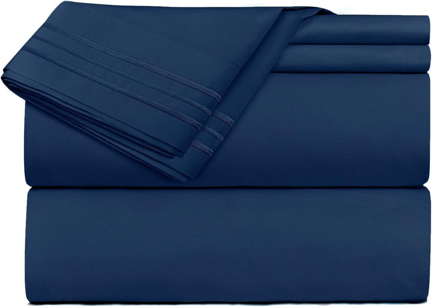 Clara Clark 1800 Premier Series 4pc Blue Bed Sheet Set