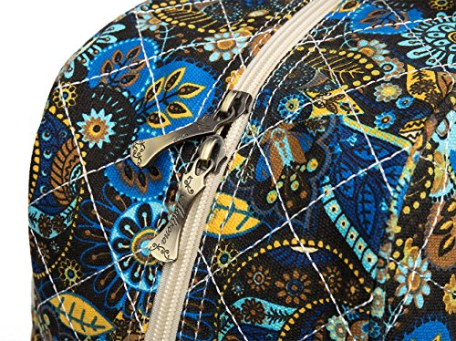 Malirona Canvas Overnight Bag Women Weekender Bag Carry On Travel Duffel Bag Floral (Black Flower) by Malirona (Image #4)