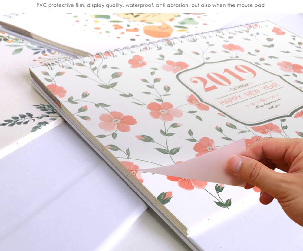Whthteey 2018-2019 Stand Monthly Desk Calendar Twin-Wire Binding Runs from August 2018 Through December 2019 Monthly Planners for Office School Family (Flower) by Whthteey (Image #4)