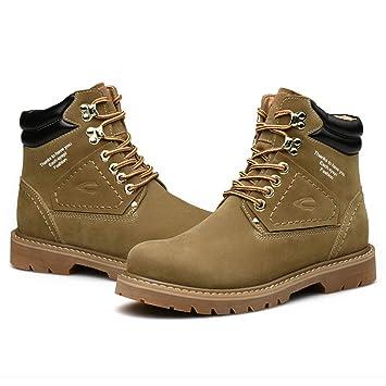 DZX Zapatos De Cuero Casuales Al Aire Libre De Invierno Estilo Británico/Botines Botas Cálidas De Nieve De Invierno, para Hombres Trabajo Senderismo Y ...