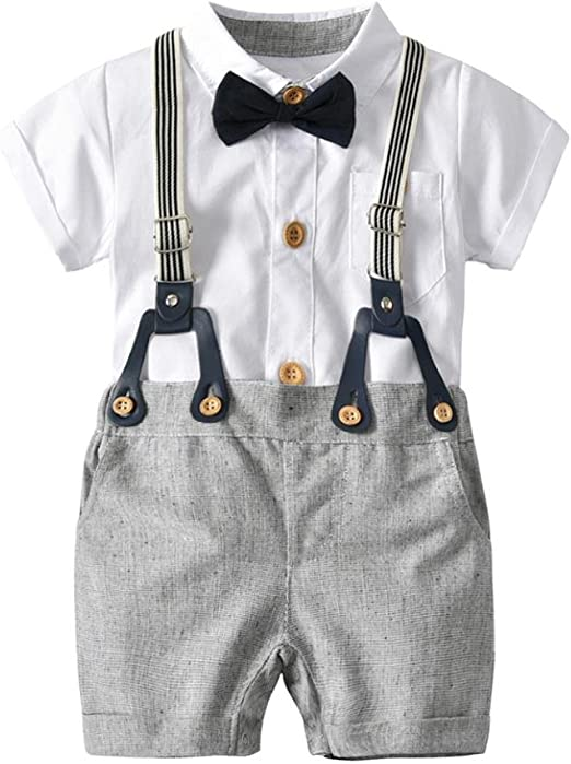 Baby Boys Summer Smart Outfit Set Shorts Braces Formal Party Wedding 0m-3yrs
