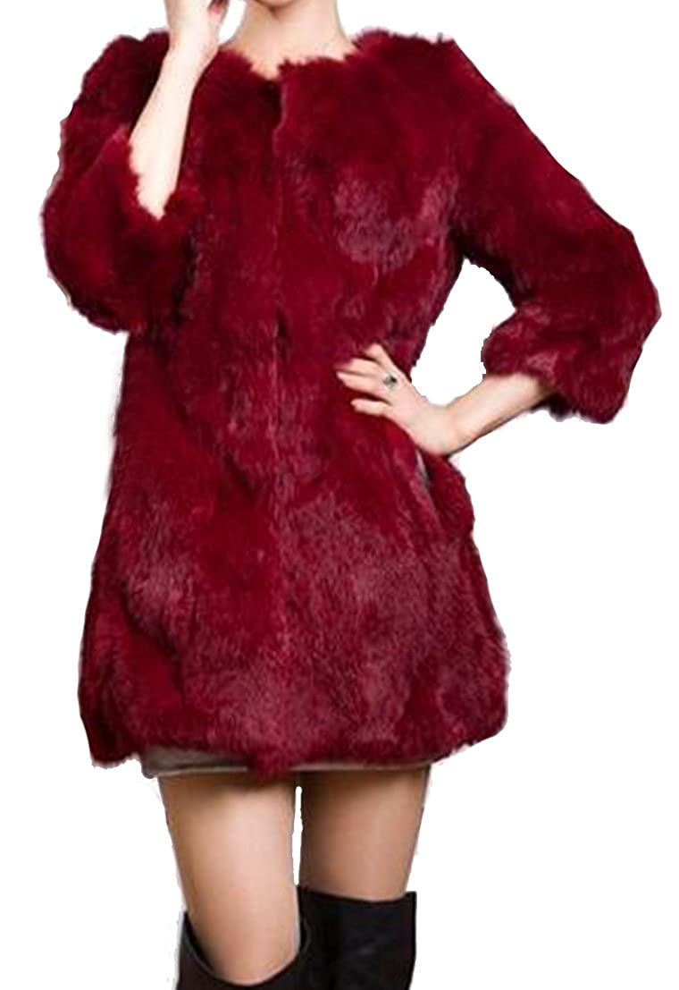 Wine Red Helan Women's Real Long Rabbit Fur Coat