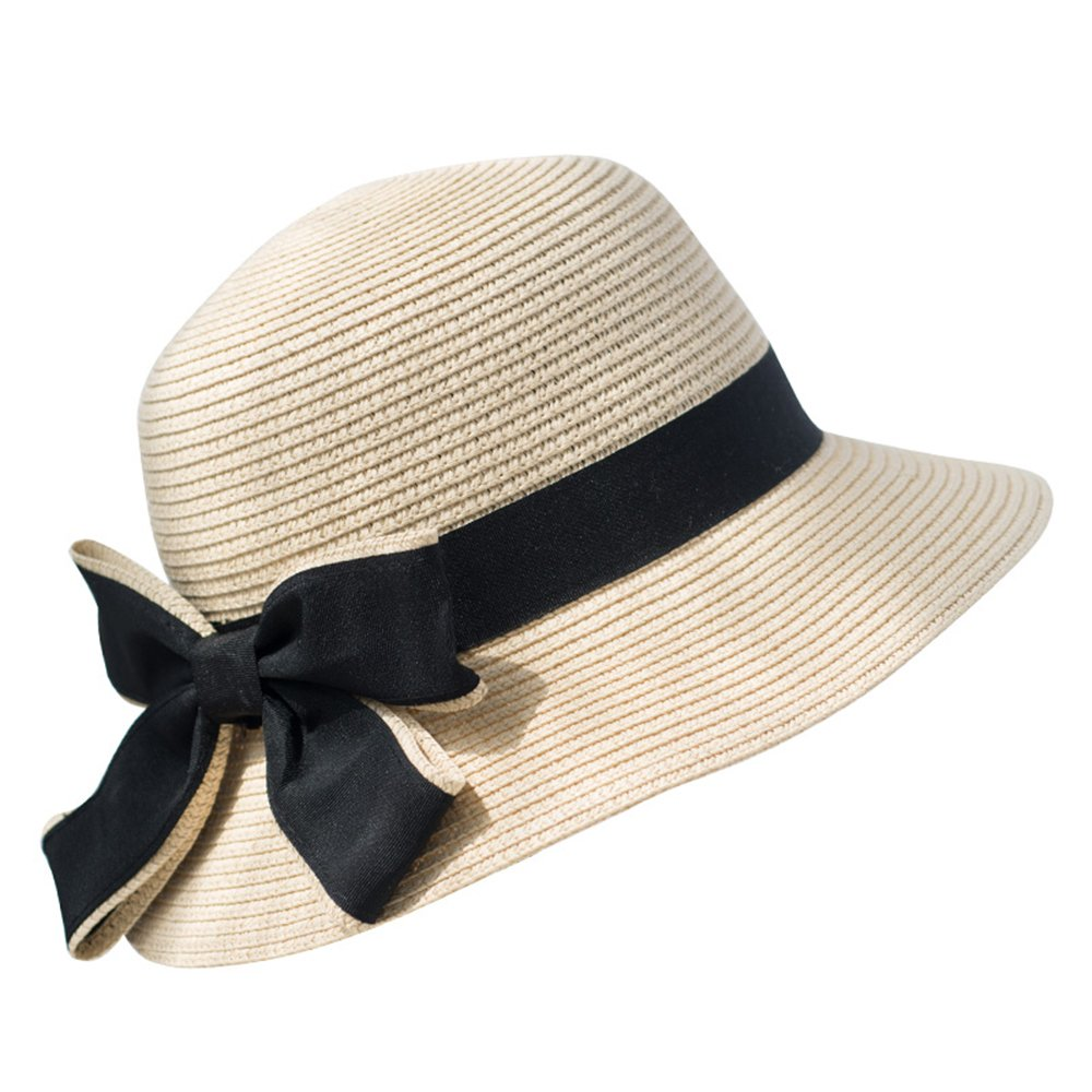 6783d946 Fashion Hat Trendy XU Women Summer Cute Bowknot Sun Visor Hat Casual Travel  Foldable Straw Hats (Beige) at Amazon Women's Clothing store: