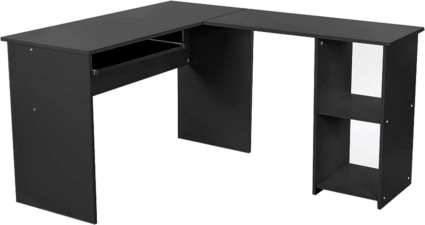 VASAGLE Ordenador, Escritorio de la Computadora Negro en Forma de L, Mesa esquinera para Casa Oficina 140 x 120 cm LCD810B: Amazon.es: Juguetes y juegos