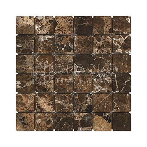 (Emperador Dark Spanish Marble 2 X 2 Mosaic Tile, Tumbled)