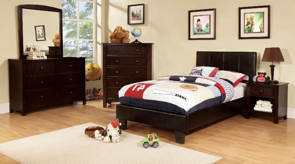 Besson Leather PU Platform 4 Piece Twin Bed, 1 Nightstand, Dresser, Mirror - Espresso by FA Furnishing