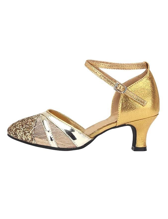 d34bc30d65 SPDYCESS Zapato de Baile Latino Mujer Zapatos de Lentejuelas Baile de Salón  Sandalia de Salsa Performance Calzado de Danza (Tacón-5cm)  Amazon.es   Deportes ...
